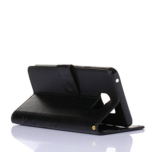 Trumpshop Smartphone Carcasa Funda protección para Samsung Galaxy Note 4 + Rojo + PU Cuero Caja Protector Billetera con la Ranura la Tarjeta Choque Absorción Negro