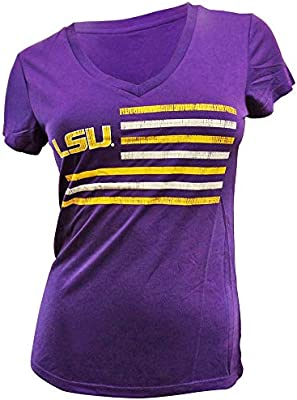 Medium Purple NCAA LSU Tigers Mens Ots Slub Distressed Tee