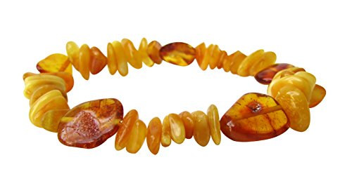 Scotch Honey (Amber Stretch Bracelet Anklet For Women Men ABB26 Mix Butterscotch and Honey Colour 19cm Polished Chips Beads By Amber Corner)
