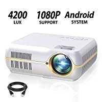 ILIMPID Full HD Projector with 4200 Lux, Android Wireless Video Projector with 200″ Projection Size,Home Movie Cinema Support 1080P HDMI in VGA AV USB with Free AV VGA Cable