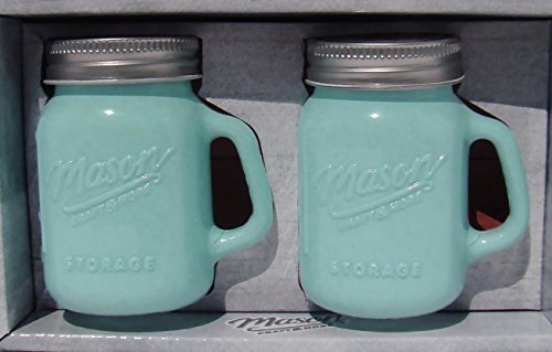 Mason Jar Salt and Pepper Shaker - Milk Glass Green