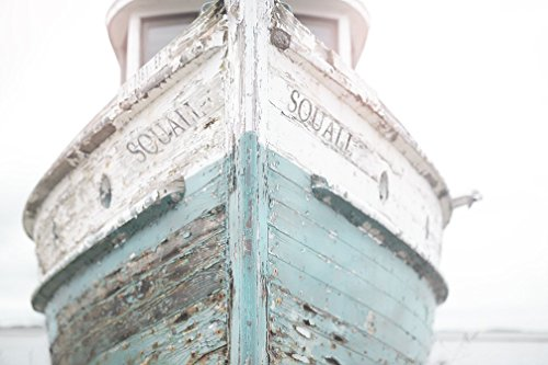 Nautical Ship, Vintage Beachy, Beach Print, Cottage Decor, Sea, Rustic Wall Art, Teal Fixer Upper, Bathroom, 11x14 Print