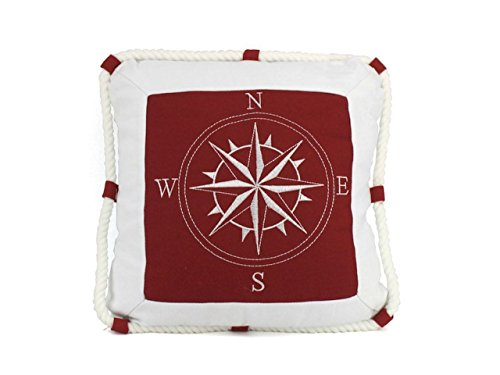 (Hampton Nautical  Compass with Rope Decorative Thrown Bedroom Beach House Pillow, 16