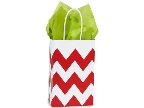 Red & White Chevron Small Shopper Gift Bags - Quantity of 25