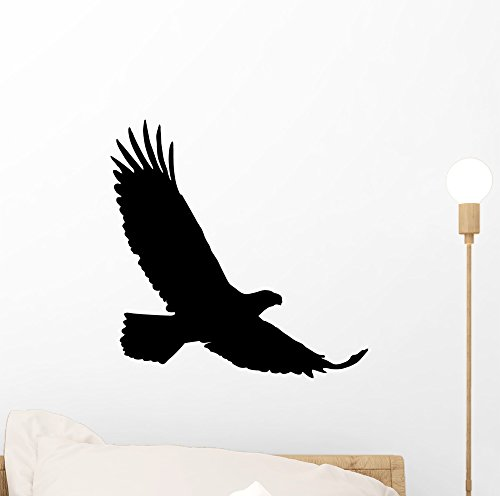 Black Realistic Eagle Silhouette Wall Decal by Wallmonkeys Peel and Stick Graphic (12 in H x 12 in W) WM348679