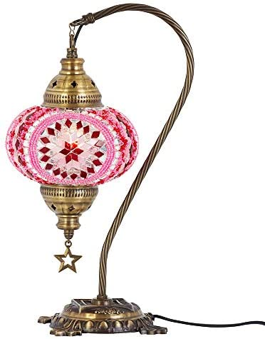 DEMMEX 2019 Turkish Moroccan Mosaic Table Lamp with US Plug Socket, Swan Neck Handmade Desk Bedside Table Night Lamp, Decorative Tiffany Lamp Light, Pink
