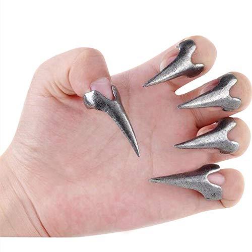 Bewish 10pcs Goth Punk Rock Claw Talon Long Nail Finger Tip Retro Spike Rings Nail Art Decoration