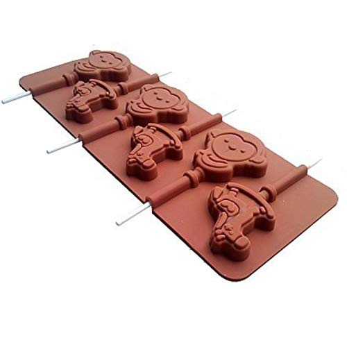 Minchsrin Silicone Chocolate Lollipop Mold with 6 Holes Monkey Carousel