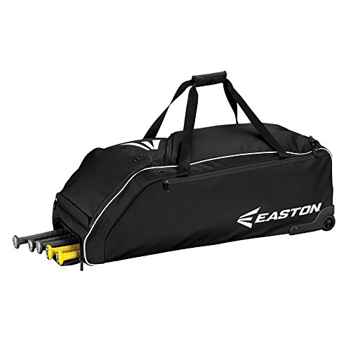 - Easton E610W Bat & Equipment Wheeled Bag | Baseball Softball | 2019 | Black | 4 Bat Compartment | Vented Pockets - Minimize Odor & Quick Dry | Removable Shoe Pocket | Lockable Pockets | Fence Hook