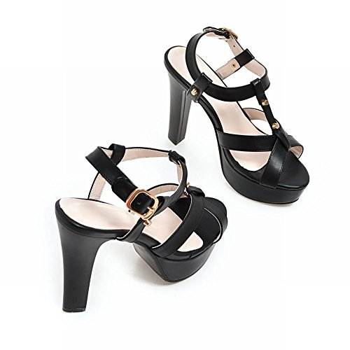 Carolbar Vrouwen Gesp Mode Trouwplatform Partij Hakken Sandalen Zwart