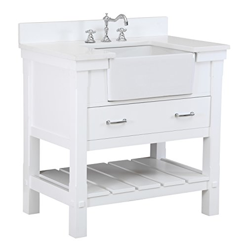 Charlotte 36-inch Bathroom Vanity (Quartz/White): Includes a White Quartz Countertop, White Cabinet with Soft Close Drawers, and White Ceramic Farmhouse Apron ()