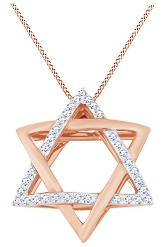 AFFY Hanukkah Holy Day Sale Round Cut White Natural Diamond Star of David Pendant Necklace in 14k Solid Rose Gold (0.11 Ct) ()