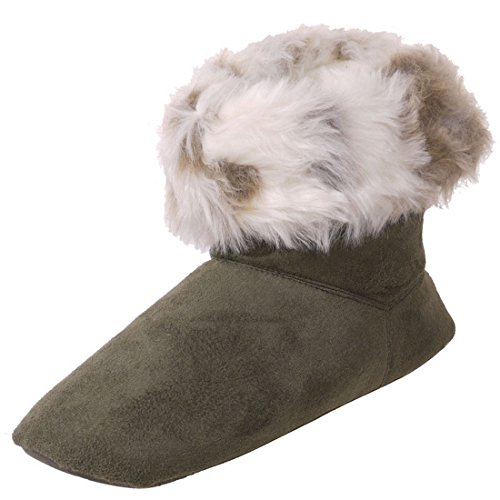Booties Women's House Slippers Comfy Slipper Bootie (M / 6.5-7, Olive) ()
