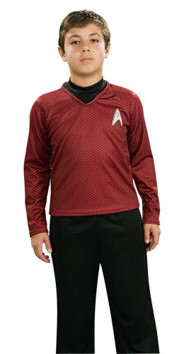 Star Trek Classic Red Shirt Deluxe Costumes (Star Trek Movie Child's Deluxe Red Shirt Costume with Dickie, Pants with Attached Boot Tops and Emblem Pin, Medium)