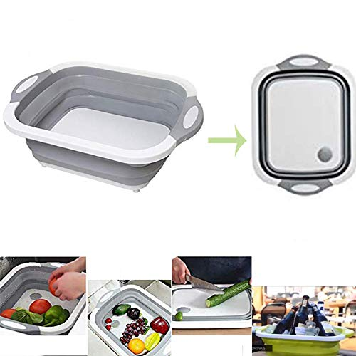 (Folding Cutting Board with Basket | Collapsible Dish Tub with Draining Plug | Colander Fruits Vegetables Wash and Drain Sink Storage Basket 3-in-1 Food Grade Plastic Chopping Board)