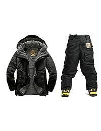 Southplay mens waterproof ski-snowboard North Military Jacket+Black Pants set