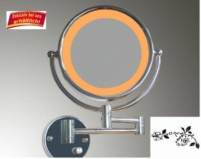 WEIHU Hochwertiger Luxus LED Hotel Badspiegel-Hotelspiegel-mit 3 Fach Gelenkarm und Normalansicht und 10-Fach Zoom und 1:1 Ansicht /& Kosmetikspiegel