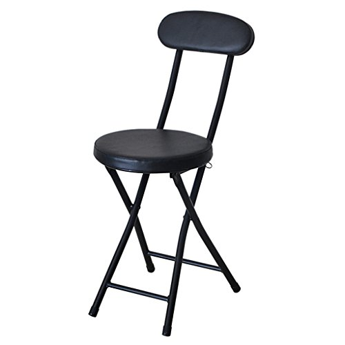 (Chair - folding stool, home back chair, metal dining table/chair / modern minimalist stool/portable office chair/bar chair (Color : Black))