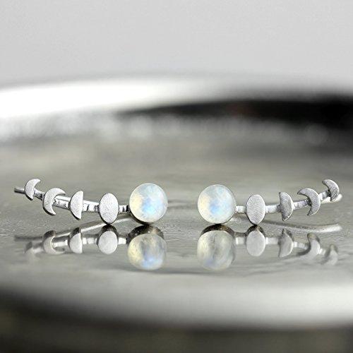 Silver Moonstone Earrings - Sterling Silver Ear Climber Earrings Sterling Silver Moon Phase Earrings Raw Rainbow Moonstone Earrings Crescent Moon Earrings Gifts for Her