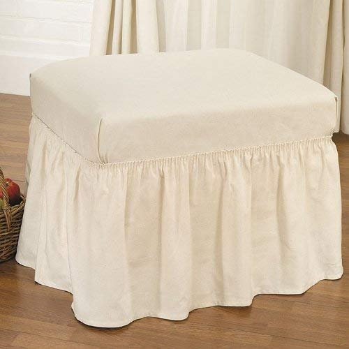 SureFit Duck Solid - Ottoman Slipcover - Natural