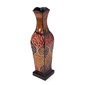 Elements Embossed Metal Floral Decorative Vase, 17-Inch