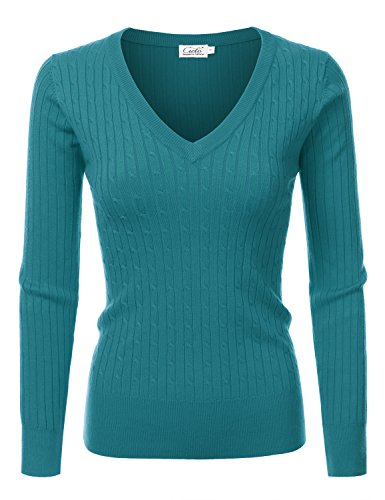 Ribbed Silk (NINEXIS Womens Long Sleeve V-Neck Twisted Knit Sweater DarkGreen M)