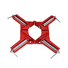 """4 Pcs 90 Degree Right Angle Miter Corner Clamp 3"""" Capacity Picture Frame Jig Red (4 Pcs)"""