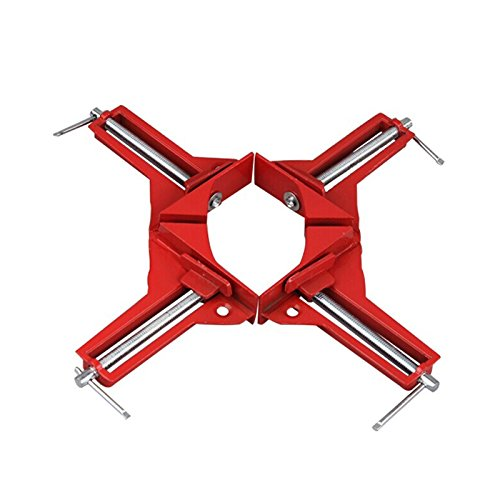 4 Pcs 90 Degree Right Angle Miter Corner Clamp 3' Capacity Picture Frame Jig Red (4 Pcs) JapanAmStore