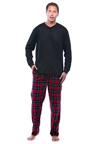 (#followme Pajama Set for Men with Thermal Henley Top and Polar Fleece Pants 44909-16-NEW-XL)