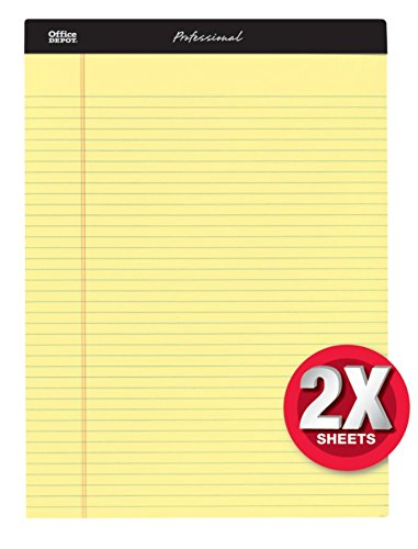 Office Depot Professional Legal Pad, 8 1/2in. x 11 3/4in, Narrow Ruled, 200 Pages (100 Sheets), Canary, pk of 4, 99502 ()