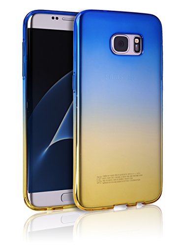 S7Edge Case [Ultra Slim TPU Bumper] [Flexible Case] Colorful Gradient Rainbow Cover S 7 Edge Anti-Scratch Shock Absorption Graphic Soft Shell Light Weight For Samsung Galaxy S7 Edge (Blue with (Standford 4 Light)