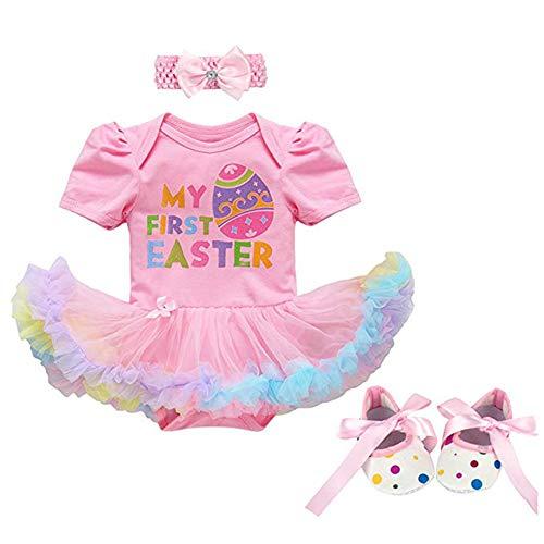 (Fairy Baby 3Pcs Newborn Baby Girl Easter Outfit Costume Gift Eggs Letter Print Romper Bodysuit Tutu Dress Skirt Set Size 6-12M (Pink Egg)