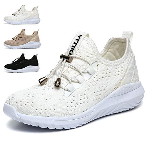 WETIKE Kids Shoes Boys Girls Sneakers High Tops Lightweight Gym Sports Shoes Slip On Sock Shoes Running Walking School Casual Shoes Soft Knit Youth Shoes White Size 6.5