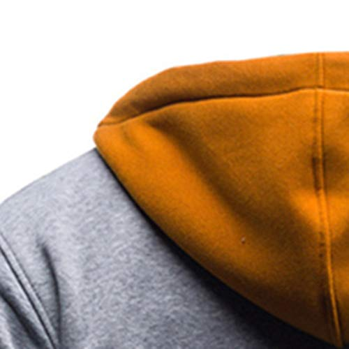 Sweatshirt Cappotto Magliette Liuchehd Cappuccio Con Maglieria Coulisse Pathwork Tops Retro Outwear Uomo Felpa Ragazzo Giacca Chiusura Hoodie Giallo vZpqr6v