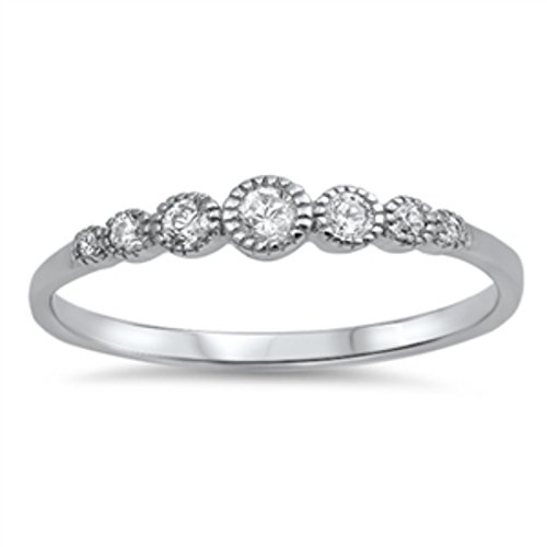 4mm Half Eternity Band Ring Wedding Engagement Bezel Set Round CZ 925 Sterling Silver, (Half Bezel Set)