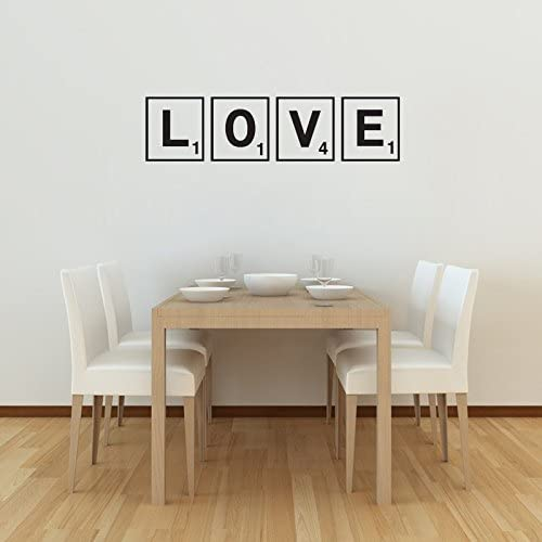 Vinilo de pared con texto en inglés: Love, letras de scrabble: Amazon.es: Hogar
