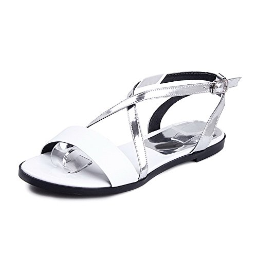 AmoonyFashion Womens Cow Leather Assorted Color Buckle Open Toe No-heel Sandals White pCknHfF