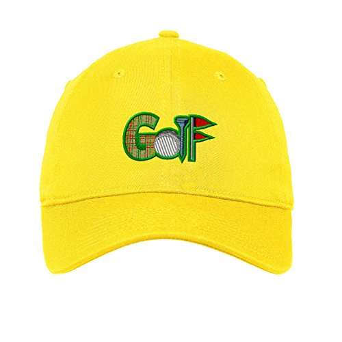 Sport Golf Logo 2 Embroidery Unisex Adult Flat Solid Buckle Cotton 6 Panel Low Profile Hat Cap - Yellow, One Size