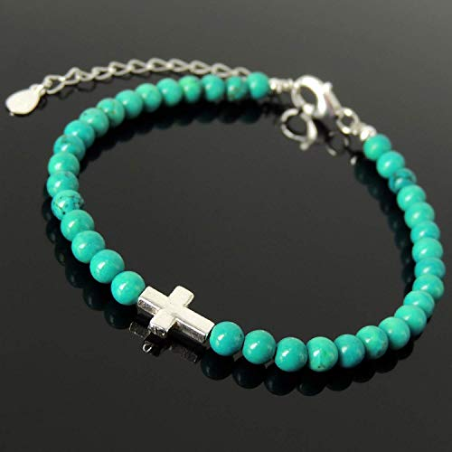 (Men's Women's Cross Jewelry, Green Blue Turquoise Meditation Gemstones for Courage, Handmade Adjustable Clasp Bracelet, 4mm Small Beads, Genuine S925 Non-plated Sterling Silver)