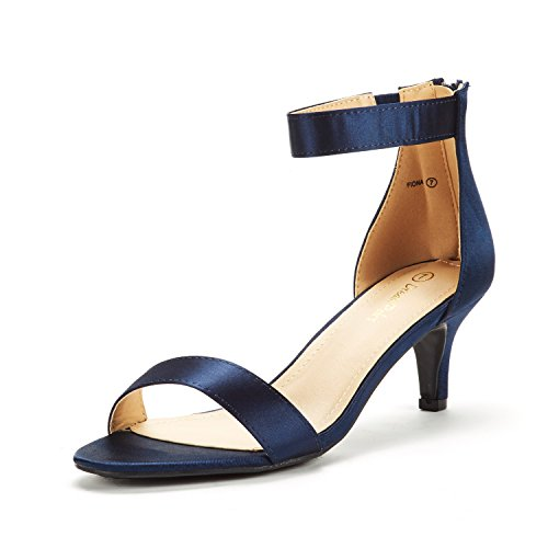 DREAM PAIRS Women's Fiona Navy Satin Fashion Stilettos Open Toe Pump Heeled Sandals Size 11 B(M) US