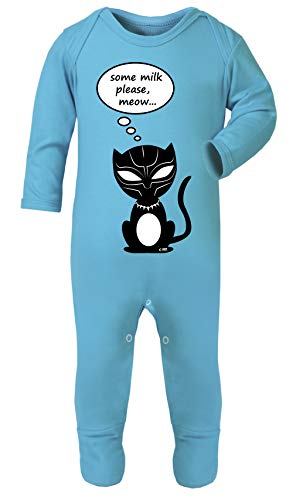 Colour Fashion Black Panther Some Milk Please Funny Print Baby Footies Sleep & Play 100% Cotton (Turquoise, 0-3 Months)