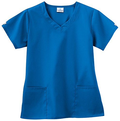 Fundamentals By White Swan Women's 3 Pocket V-Neck Solid Scrub Top Xxxxxx-Large Royal