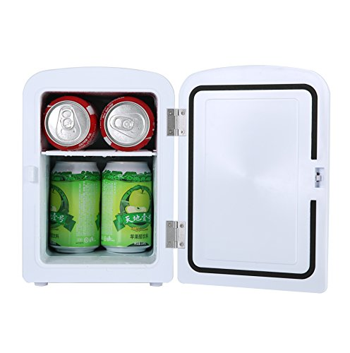Portable 6 Can Mini Fridge Cooler - Home,Office, Car or Boat - AC & DC - White - 110/120V by Genric (Image #1)