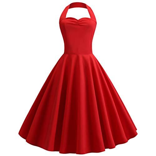 TIFENNY Women's Vintage Polka Halter Dress Fashion Backless Sleeveless Floral Sping Retro Rockabilly Cocktail Dresses -