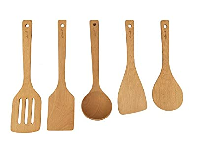 AKcook 5-Pieces Natural Beech Wood Kitchen Cooking Utensils Set by Akconu