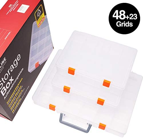 SOMLEINE Werkzeugbox Schmuckkasten Sortierboxen mit Anpassbaren Fächer für Kleinteile Ohrringe Ringe Stabile Sortimentsbox mit Fester Verschluss (48 Gitter/Doppelschicht 23 Fächern) 3 Stück