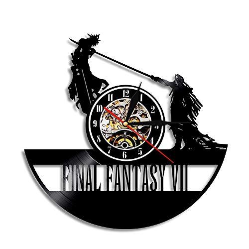 Final Scratch Vinyl Record (ZJWZ Wall Clock Final Fantasy Black Decorative Vinyl Record Wall Clock,0123A)