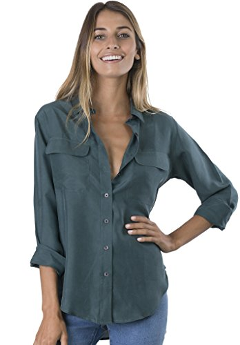 CAMIXA Womens 100% Silk Blouses Ladies Shirt Casual Pocket Button up Elegant Top XL Petrol