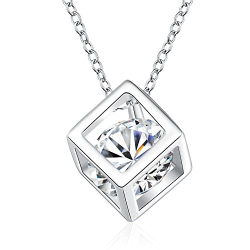 Crystal Square Pendant Necklace (925 Sterling Silver Crystal Square Pendant Necklace on an 18in Chain)