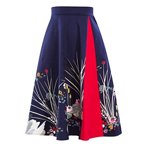Swan Print Vintage Skirts Womens Floral High Waist Femme Patchwork Retro Summer Skirt,Navy Blue,M -